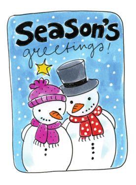 Twee sneeuwpoppen met mutsen en sjalen om- Greetz