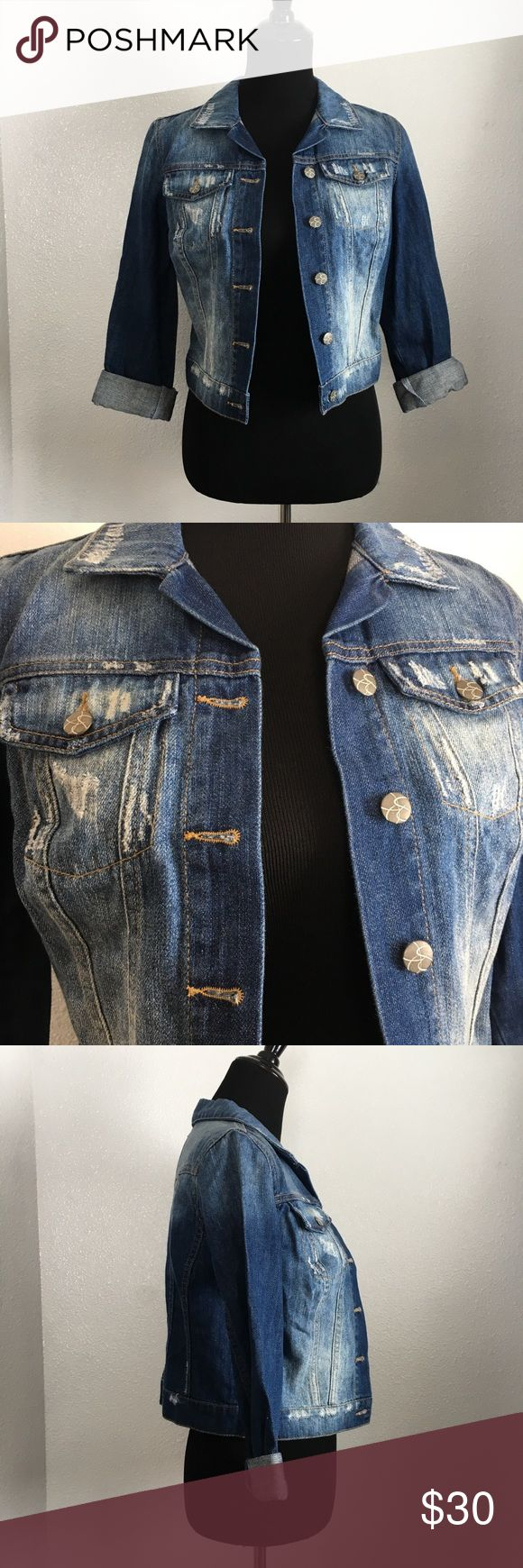 Jessica Simpson denim jacket Jessica Simpson cropped distressed denim jacket. Jessica Simpson Jackets & Coats Jean Jackets
