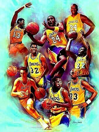 Wilt Chamberlain, Kobe Bryant, Shaquille O'Neal, Magic Johnson Jerry West, James Worthy, Kareem Abdul Jabbar, Elgin Baylor LAKER Greats