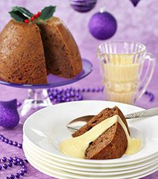 Chocolate Christmas Pudding with White Chocolate Custard - This light and fruity but full flavoured pudding is perfect for those who don't like a really rich and heavy pudding. It is perfect for Christmas Day and equally good on a cold winter's night!