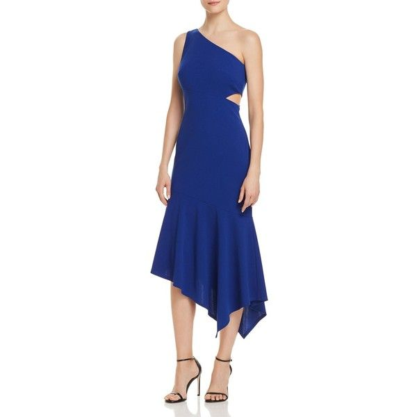 Decode 1.8 One-Shoulder Cutout Dress (£145) ❤ liked on Polyvore featuring dresses, nautical blue, one shoulder cocktail dress, decode 1.8 dresses, blue cutout dress, cut out dresses and blue cut out dress