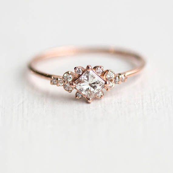 Stargaze Ring // Princess Cut White Diamond Symmetrical Cluster Ring // Diamond Engagement Ring in Solid 14k Gold