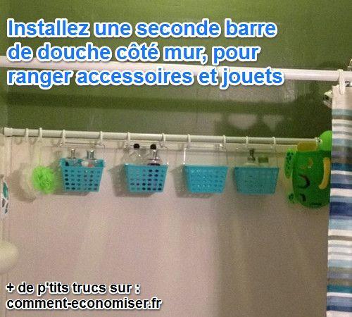 Il existe une p'tite astuce radicale pour faire de la place dans la salle de bains et ranger proprement accessoires de douche et jouets pour le bain.  Découvrez l'astuce ici : http://www.comment-economiser.fr/ranger-jeux-bains.html?utm_content=buffer9e525&utm_medium=social&utm_source=pinterest.com&utm_campaign=buffer