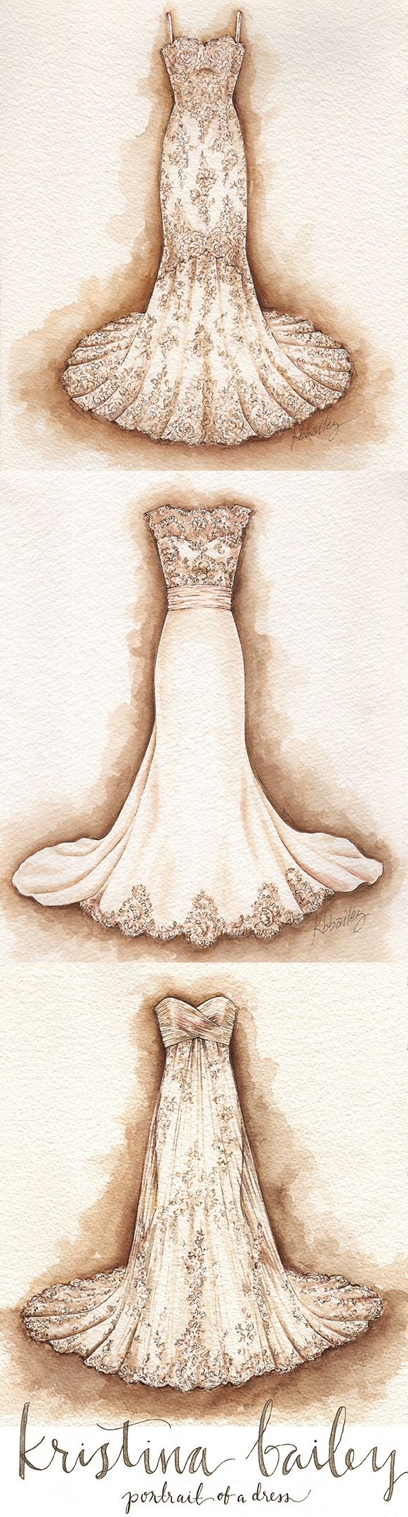 A few favorite Wedding Dress Portraits By Kristina Bailey 2014 #weddingdresspainting #portraitofadress #weddingdress www.PortraitOfADress.com