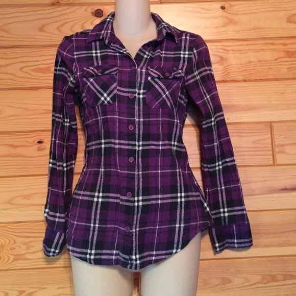 Purple plaid flannel shirt Purple plaid flannel shirt. Size medium but fits more like a small. Has elastic in back to form fit around the waist. Derek Heart Tops Button Down Shirts