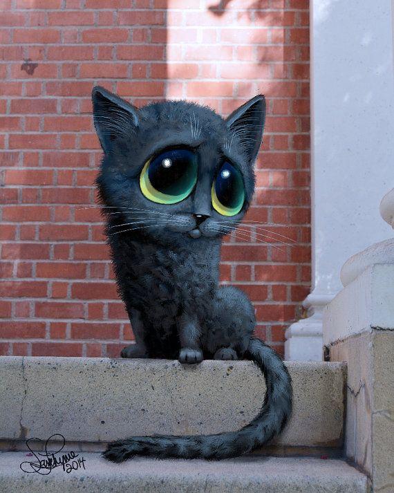 Chat noir chat oeuvre Big Eyed Original peinture mur Art Animal chat peinture à la main oeuvre Wall Art décoration enfants chambre oeuvre