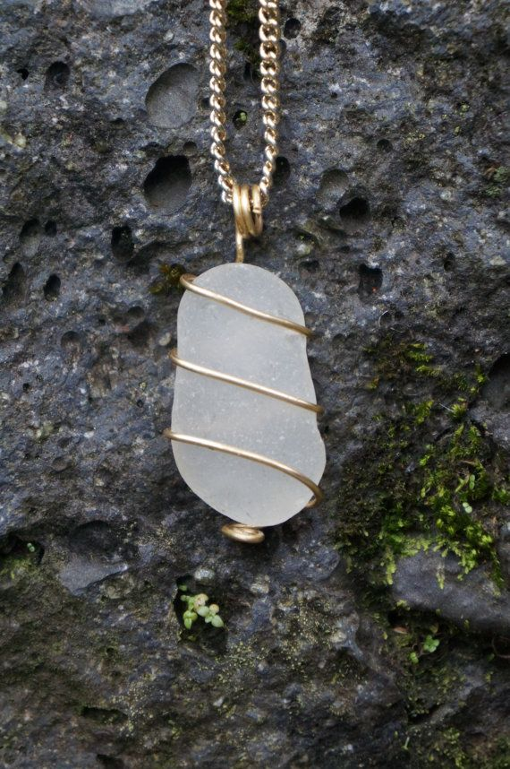 Hawaii White Sea Glass Wire Wrapped Necklace by AquaWai on Etsy