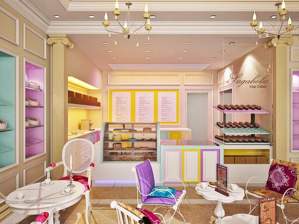 Sugaholic Cup cake shop interior by imran khan, via Behance