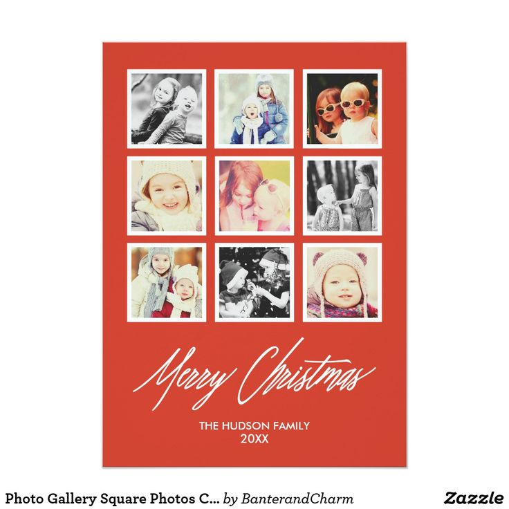 """Photo Gallery Square Photos Collage Holiday Card This photo gallery style holiday card features a collage of 9 square photos - perfect for sharing your favorite snapshots from your Instagram gallery! A bold solid color background sets off your pictures for a contemporary look, and """"Merry Christmas"""" in an elegant modern calligraphy font finishes off the card. Add your family name and the year at the bottom, and you have a gorgeous custom holiday card ready to share with friends and family…"""