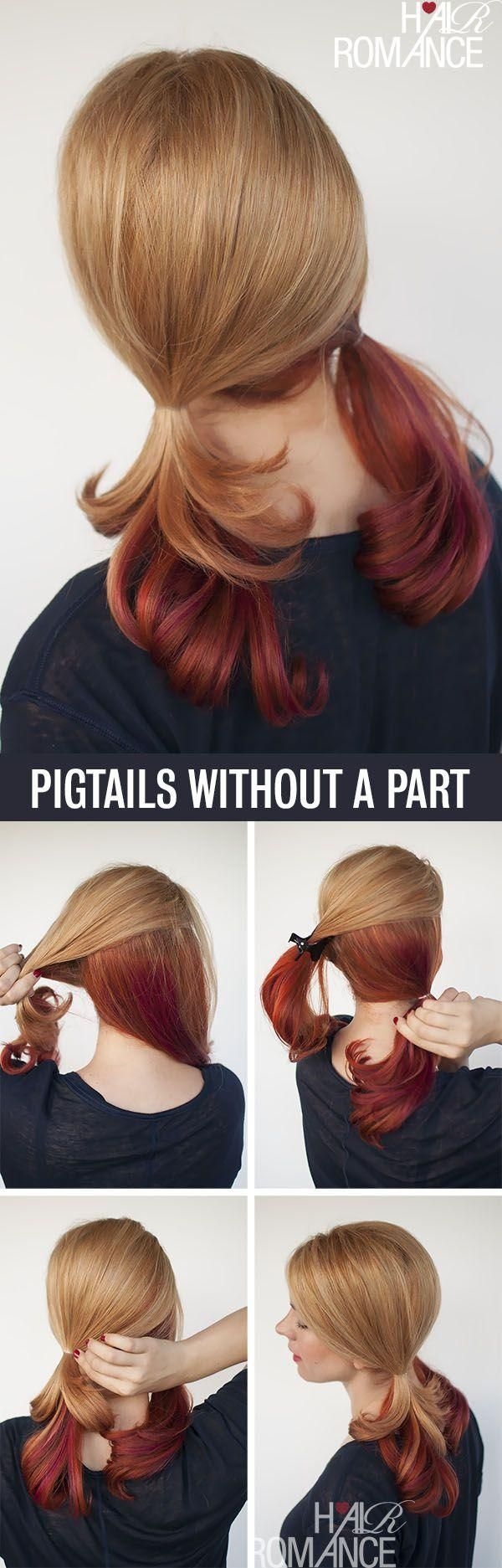 Pigtails without a part--cause I can never get it centered and straight!