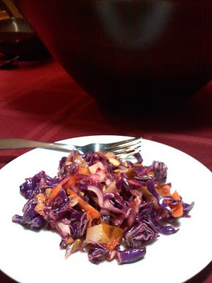 Red Onion & Pear Salad with Mango DressingPears Salad, Red Onions, Dressings, Red Cabbages, Mango Dresses