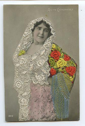 Anita Gonzalez Embroidered Silk Photo Dancer Spain Glamour Lady 1910s Postcard