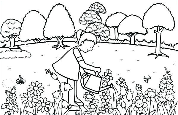 Great Flower Garden Coloring Page Big Flower Coloring Pages Garden Coloring Pages Preschool Coloring Pages Coloring Pages For Kids