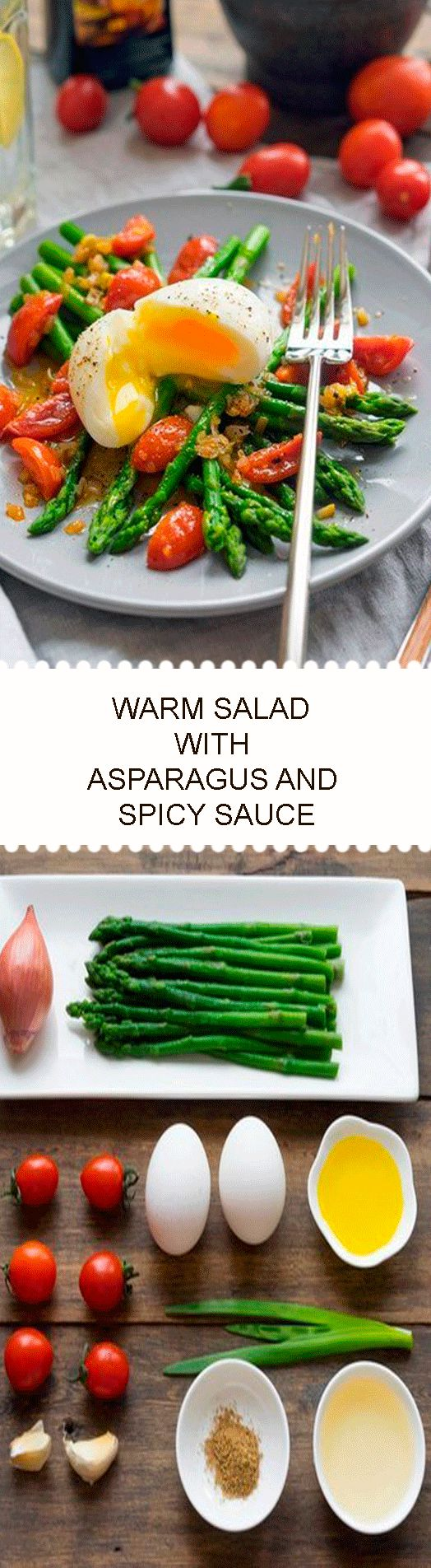 WARM SALAD WITH ASPARAGUS AND SPICY SAUCE