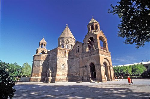 The great church of Echmiadzin, near Yerevan, Armenia. First built in 309 AD, rebuilt in the 6th and 7th centuries.