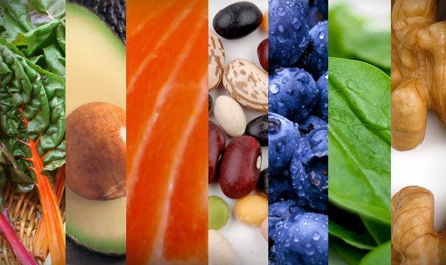cruciferous veggies, avocado, salmon, legumes, blueberries, spinach, walnuts.