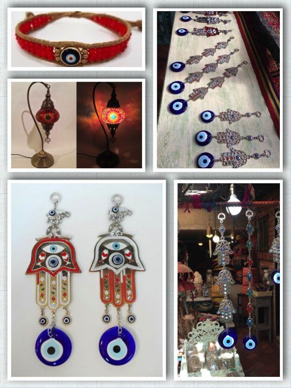 ORIENDECO, decoración de interiores.  Ofrecemos lámparas Turcas y amuletos para el hogar.