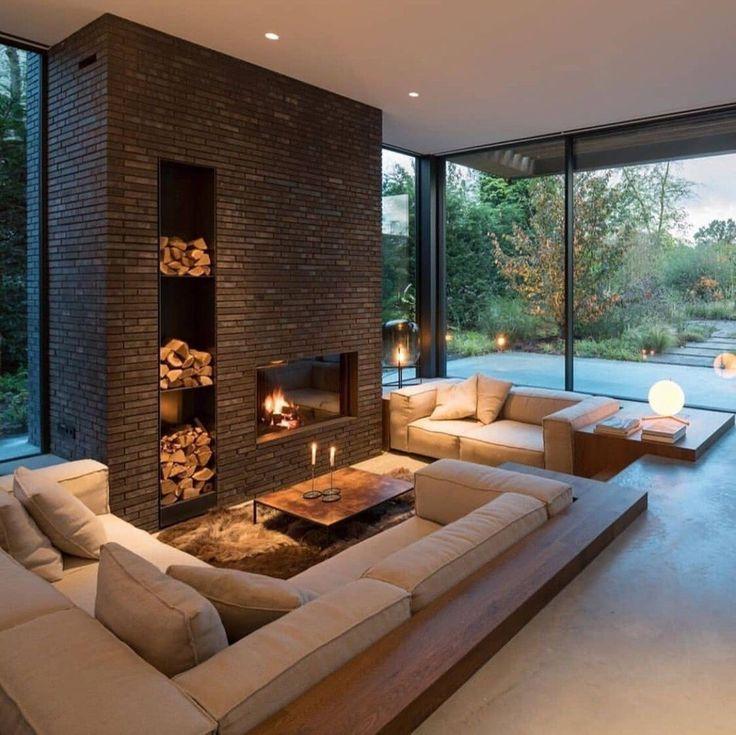 Cozy sunken living room grand brick fireplace in 2020 ...