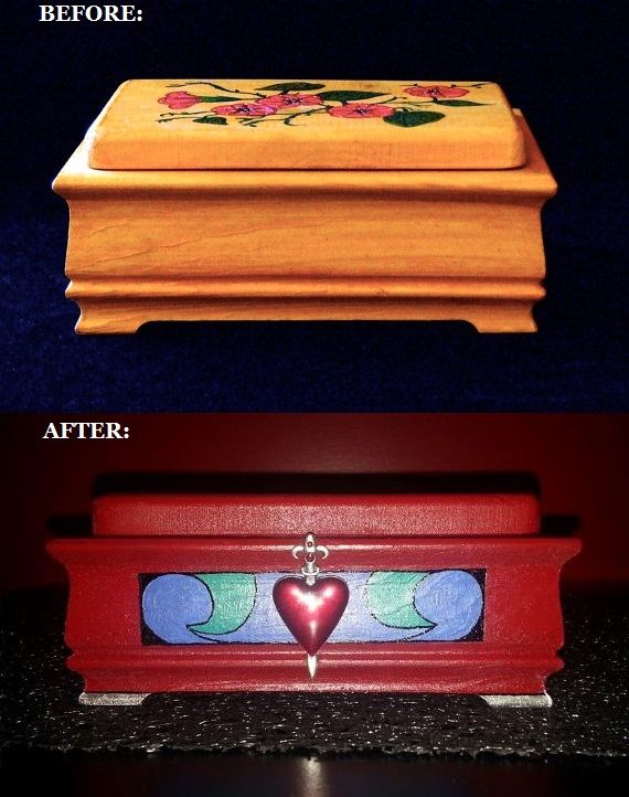 Recreation of the box the Evil Queen was to put Snow White's heart in. I made this for a friend. The box was hand painted and I used a charm from a necklace for the ornament.