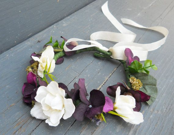 So pretty for a fall wedding!    The colors in this flower girl wreath are gorgeous! Shades of plum, sage green and ivory form a circlet of