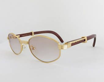 d245537f2871 Cartier Style Wood Sunglasses, Vintage Frames, Gold and Wood Glasses,  Woodline Eyewear, Gold Plated Frame, Gradient Brown Lenses