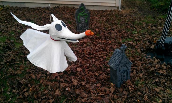 Paper mache nightmare before christmas characters zero for Paper mache christmas