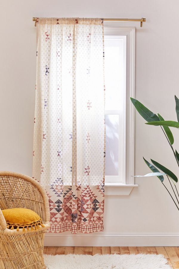 Cute Boho Curtain Lace Window Panel With Tribal Pattern