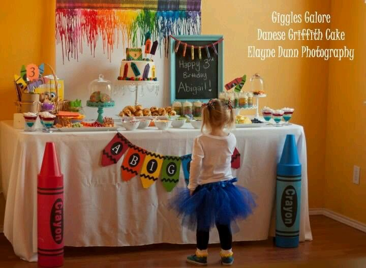 Crayon party. Love the crayon art