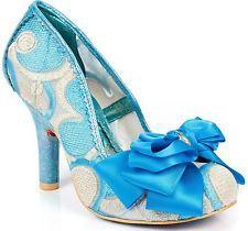 Irregular Choice Ascot Blue Gold Womens Heels Court Shoes