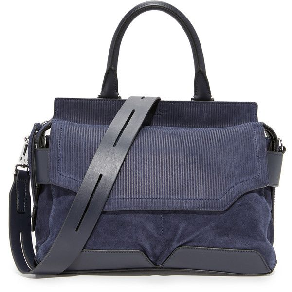 Rag & Bone Pilot Satchel found on Polyvore featuring bags, handbags, navy, leather handbags, leather satchel handbags, leather purses, satchel handbags and stripe purse