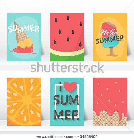 summer, holiday, vacation poster set.  flat and hand draw design. can be use for greeting and invitation card.  background , backdrop. vector illustration