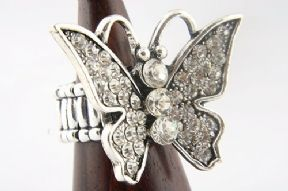 Large, Rhinestone Encrusted Butterfly Fashion Ring
