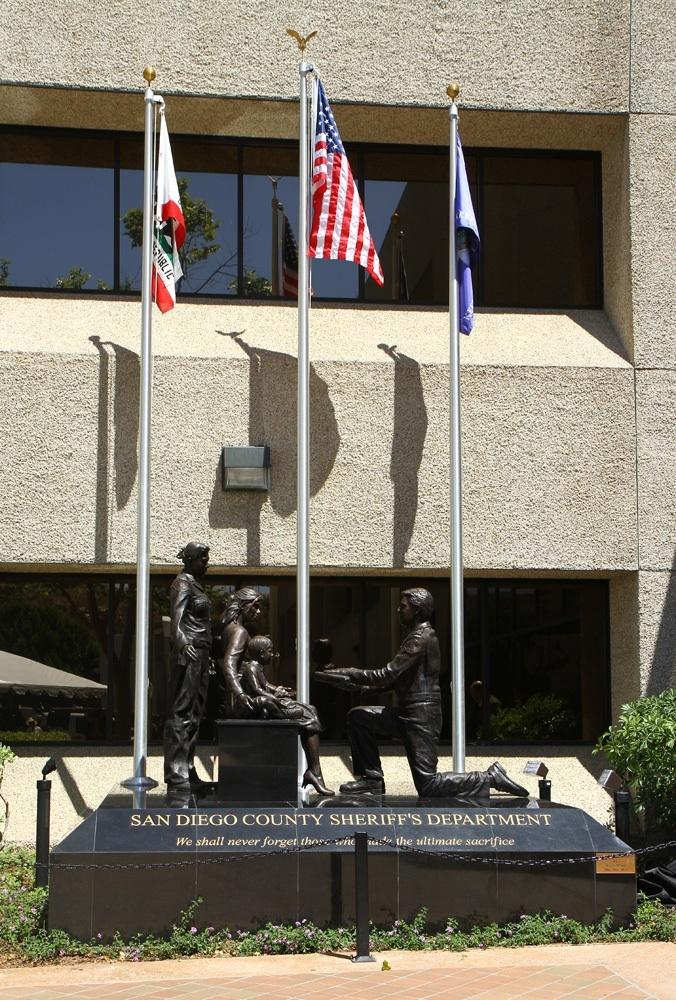 San Diego Sheriffs Department monument memorial to fallen deputies.  Bronze Figurative sculpture by sculptor Steven Whyte, Carmel, California. Www.facebook.com/stevenwhytecarmel