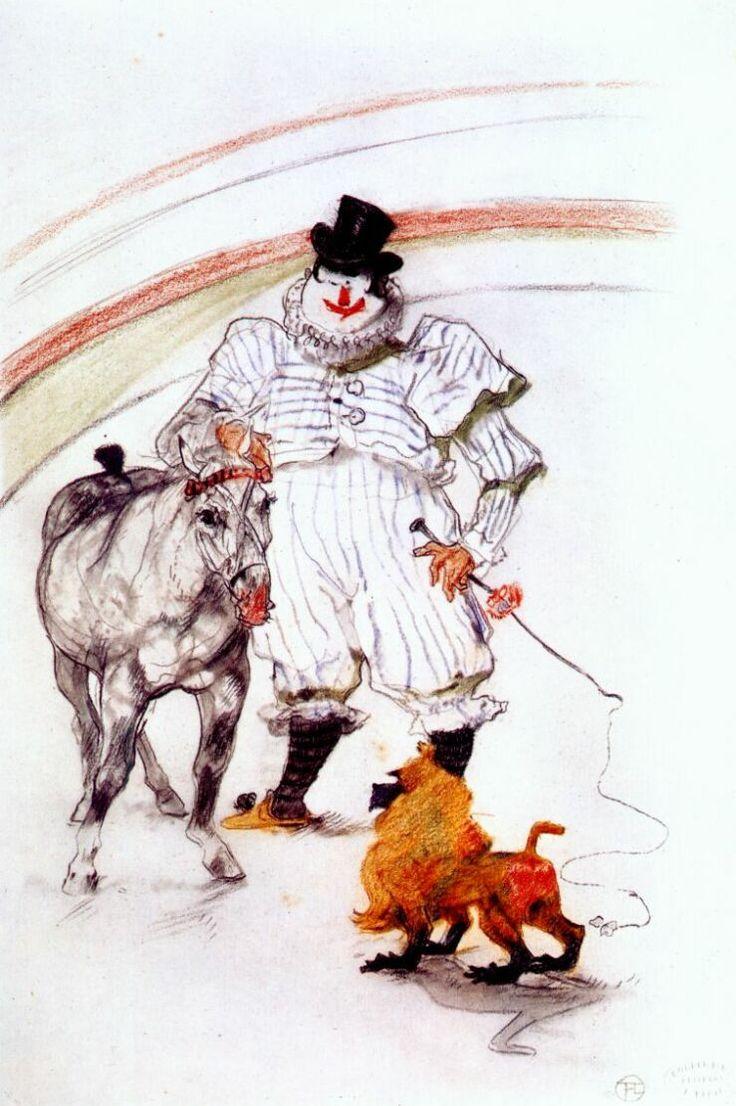Henri de Toulouse- Lautrec / At the circus, horse and monkey dressage, 1899.