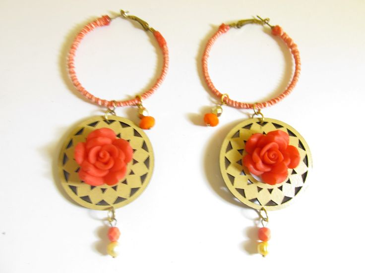 Handmade laser cut leather earrings (1 pair)  Made with beige leather filigree, gold tone antiallergic earring hoops with fiber, red fimo flower and glass beads.