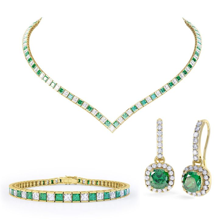 Princess Emerald and White Sapphire 18ct Gold Vermeil Jewellery Set