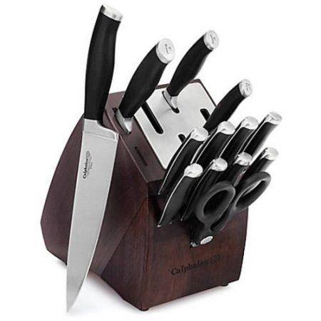 Calphalon Contemporary Self-Sharpening 14-Piece Cutlery Knife Block Set with SharpIN Technology, Black