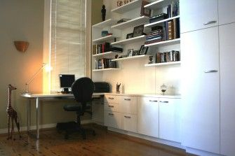 Size: 4.4m wide x 2.5m high x 2m deep, desk (0.6m deep cupboards)  Materials: Painted White with clear satin lacquer finish