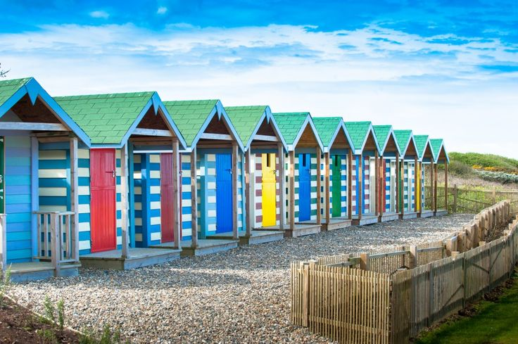 Beach huts, St Moritz Hotel near Rock, Cornwall
