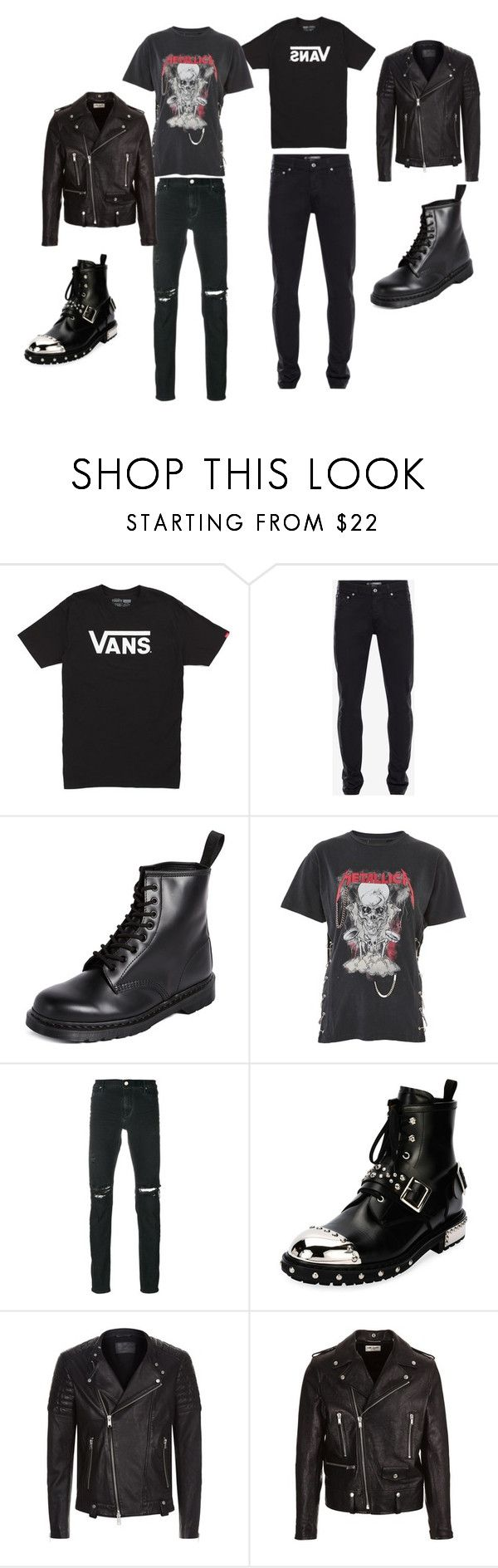 """""""punk guy"""" by pjoym on Polyvore featuring Vans, Alexander McQueen, Dr. Martens, And Finally, RtA, AllSaints and Yves Saint Laurent"""