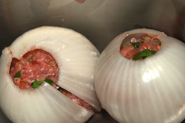 Ground Beef Onion Bombs -- The Final Result is Bacon Wrapped and To Die For!