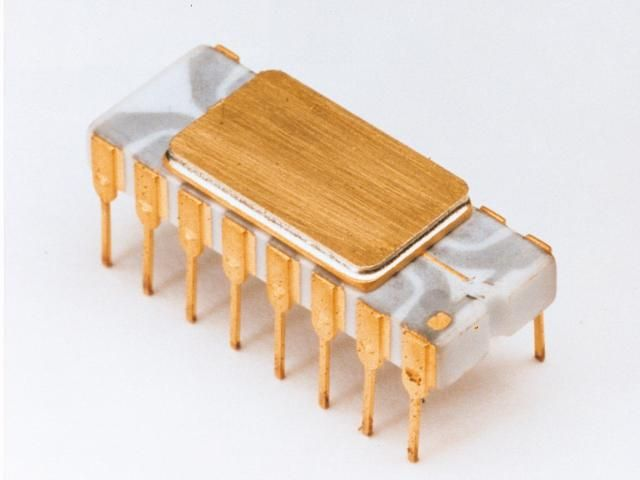 De Intel 4004-chip uit 1971: 2.300 transistors