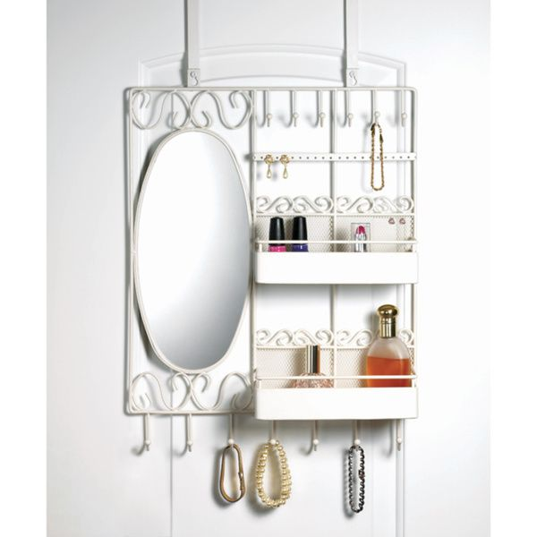 Home Basics Over The Door Vanity Scroll Jewelry And Cosmetic Organizer