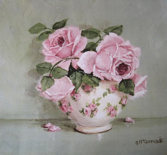 Ready to Hang Print - Rose Blooms in a Chintz Bowl - POSTAGE included Australia wide