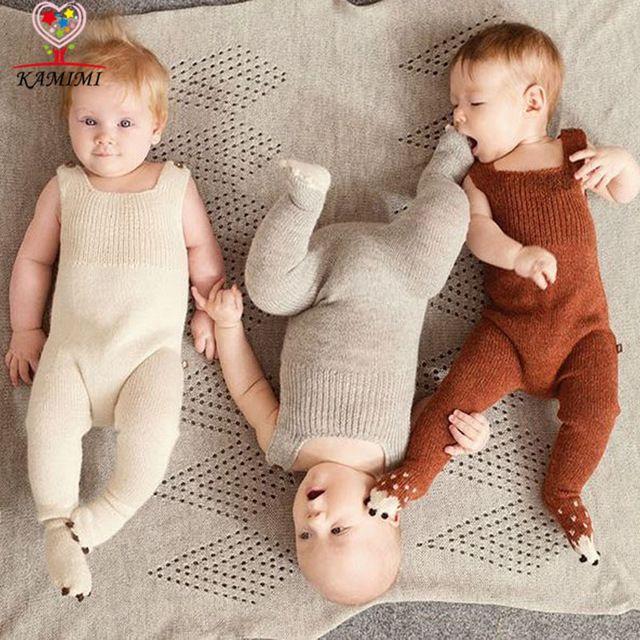 Confecção de malhas do bebê romper inverno new style KAMIMI macio bebê recém-nascido 4-24 Meses meninos meninas one piece-lã macacão roupa bonito do bebê