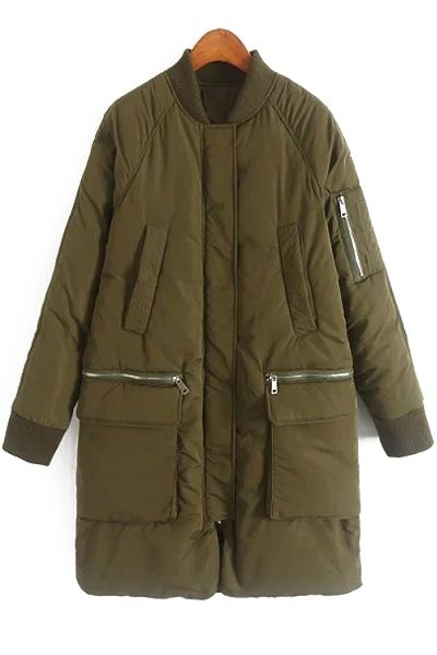Pure Color Stand Neck Baseball Coat