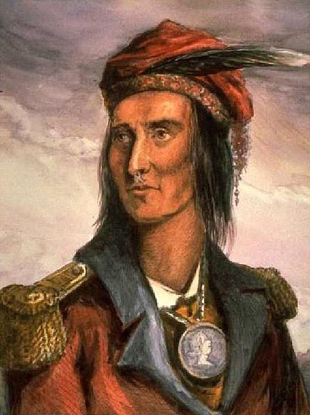 """Painting: portrait of Shawnee Chief Tecumseh, by Benson Lossing in 1848 based on 1808 drawing. Credit: Wikimedia Commons. Read more on the GenealogyBank blog: """"Battle of Tippecanoe Destroys Tecumseh's Indian Confederation"""" https://blog.genealogybank.com/battle-of-tippecanoe-destroys-tecumsehs-indian-confederation.html"""