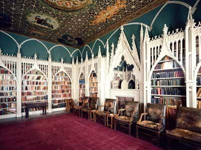 Library at Strawberry Hill, a Gothic Revival villa in Twickenham, London ~ built by Horace Walpole (beginning in 1749).  Walpole wrote the first Gothic novel, The Castle of Otranto. [4th of four pins]