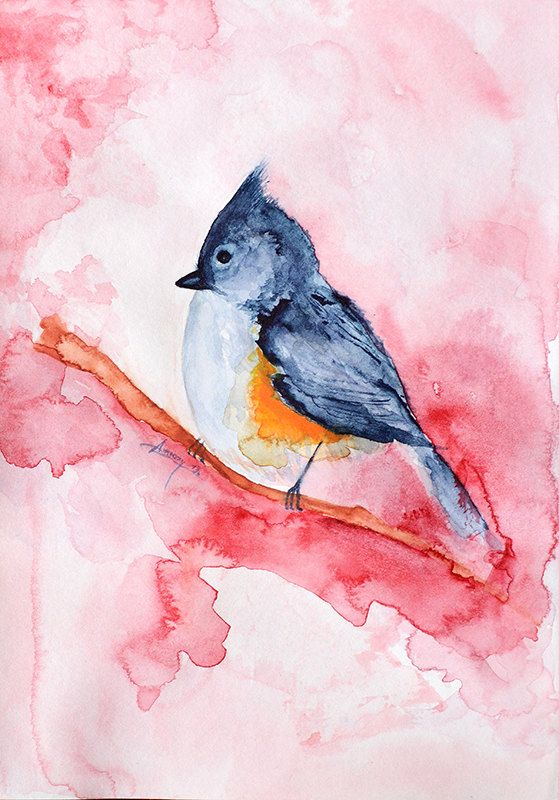 Original Watercolor Painting Abstract , watercolor bird painting, bird art, animal illustration, bird 6x8 inch. 15x20 cm.