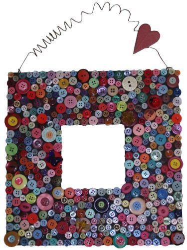 19 button crafts for you and your home - Decorate Mirror Frame